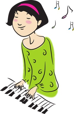 illustration of woman playing piano